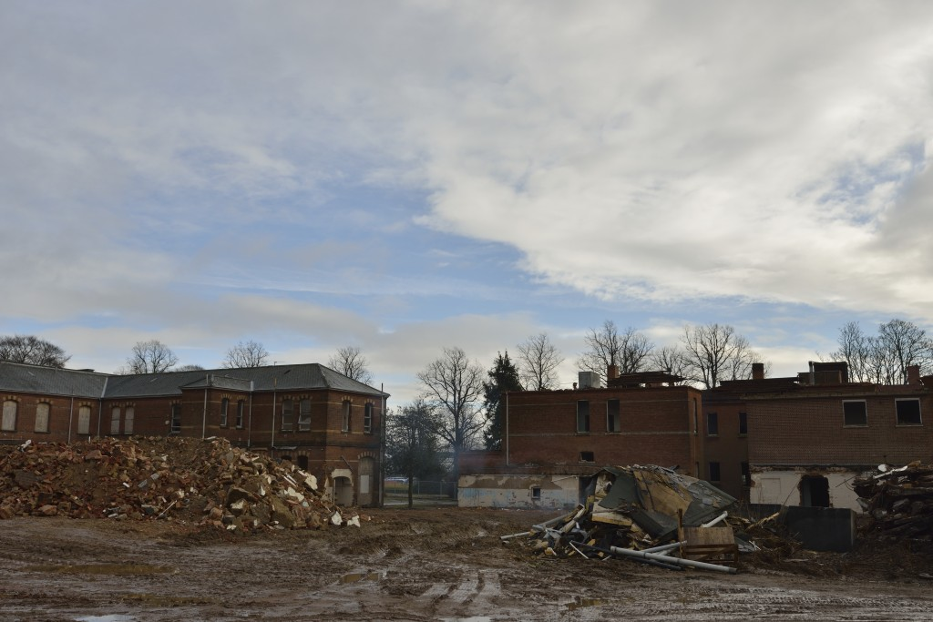 St. <strong class='StrictlyAutoTagBold'>Andrews Asylum</strong> - Demolition February 2013 - Rear - Norwich